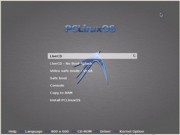 Страница выбора загрузки PCLinuxOS 2011.6