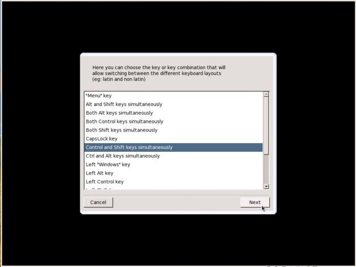 Страница выбора клавиш переключения раскладок клавиатуры